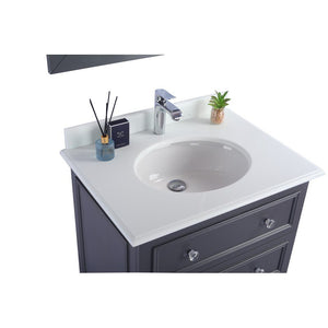 Laviva Single Sink Vanity - Luna 30 Inch Maple Grey Cabinet with Pure White Countertop - 30 inches. W x 22 inches D x 35 inches H - 313DVN-30G-PW