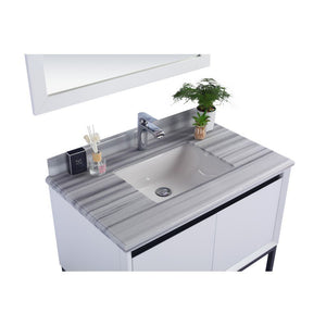 Laviva Single Sink Vanity - Free Standing - Alto 36 Inch White Cabinet with White Stripes Countertop - 36 inches W x 22 inches D 35 inches - 313SMR-36W-WS