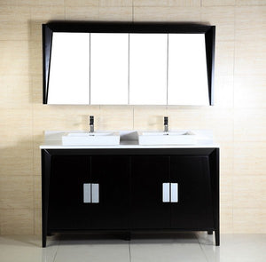 60 in. W x 18.3 in. D x 34 in. Clara - H Double Vanity in Dark Espresso with Ceramic Vanity Top in White with White Basins - Bathroom Styles Inc.