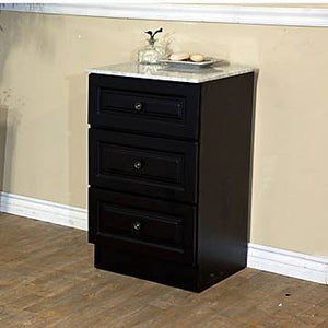Bellaterra Home Bathroom Linen Cabinet – High Quality Cabinet with Marble Vanity Top in Dark Mahogany - 20 inches W x 33 inches H x 18 inches - D- Newry 605523