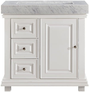 Silkroad Exclusive Single Sink Vanity - Free Standing, Integrated Single Sink Bathroom Vanity with Carrara White Marble Top H - Single Sink Vanity - 36 inches W x 23 inches D x 36 inches - V0286WR36R