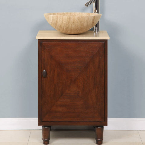 SILKROAD EXCLUSIVE Single Sink Vanity in English Chestnut with Travertine Top and Vessel Sink Included Elegant Décor HYP-0225-T-20_S29B 20