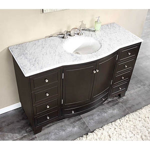 Silkroad Exclusive Vanity Bathroom - 55-inch Carrara White Marble Stone Top Bathroom Single Sink Cabinet Vanity - 55 inches in W x 22 inches D x 36 inches H