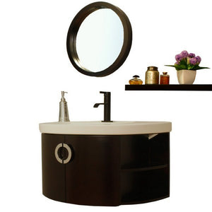 Bellaterra Home Single Vanity in Espresso with Vitreous China Vanity Top in White34 in. W x 20 in. D x 18 in. H Salida - plus White Basin Drop-in Bathroom Sink, Rectangle Semi-recessed Porcelain Vanity Basin Single Faucet Hole - 804338-ES