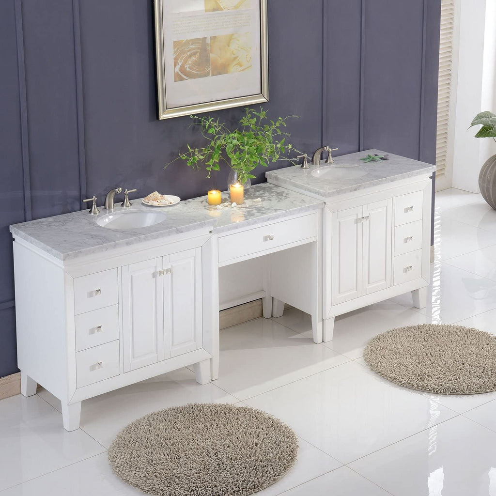 Silkroad Exclusive Double Sink Vanity - Free Standing, Ceramic Undermount Double Sink Bathroom Vanity with Carrara White Marble Top | 103 inches W x 22 inches D x 36 inches -  V0320WW103D