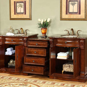 Silkroad Exclusive Ceramic Undermount Double Sink Bathroom Vanity with Baltic Brown Granite Top, Durable & Reliable Materials - 85 inches W x 22 inches D x 36 inches H - HYP-0206-BB-UIC-85 84