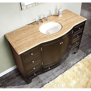 Silkroad Exclusive Vanity Bathroom - Travertine Stone Top Bathroom Vanity - 55-inches in W x 22 inches D x 36 inches H -