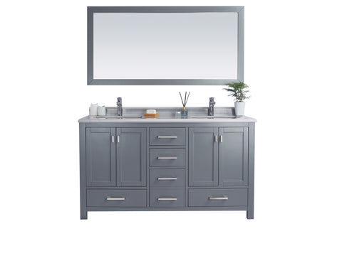 LAVIVA 313ANG-60G-WS Wilson 60 Inch Grey Cabinet with White Stripe Countertop - Bathroom Styles Inc.