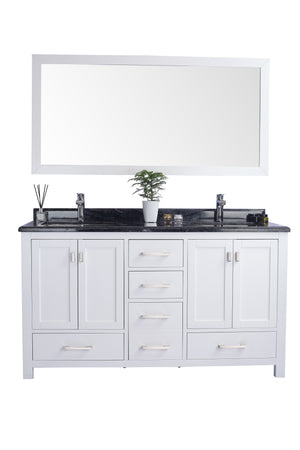 LAVIVA 313ANG-60W-BW Wilson 60 Inch White Cabinet with Black Wood Countertop - Bathroom Styles Inc.