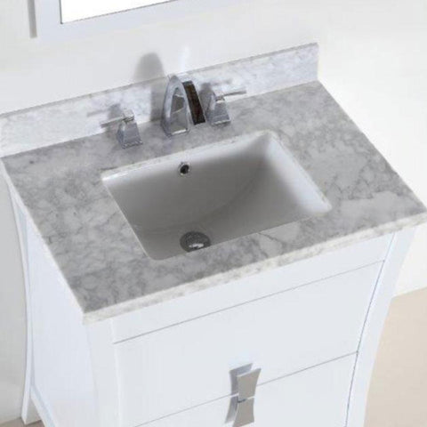 Bellaterra Home 30 in. W x 19 in. D x 34 in. H Tracy - Single Vanity in White plus Carrara Marble Vanity Top in White with White Basin - 500701-30-WC