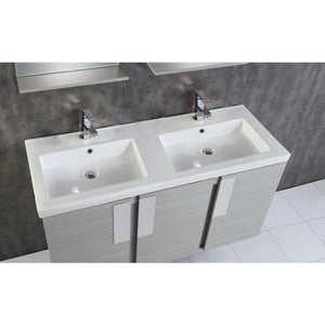 48 in. W x 19 in. D x 26 in. Carmel - H Double Vanity in Gray Pine with Ceramic Vanity Top in White with White Basins - Bathroom Styles Inc.