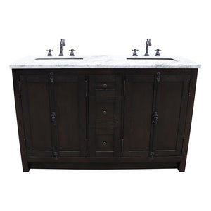 55 in. W x 22 in. D Plantation- Double Bath Vanity in Brown with Marble Vanity Top in White with White Rectangle Basins - Bathroom Styles Inc.