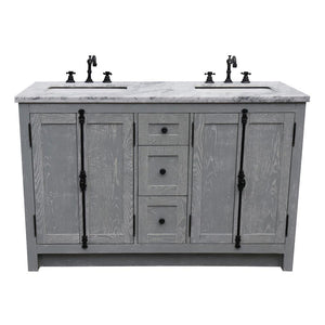 55 in. W x 22 in. D Plantation - Double Bath Vanity in Gray with Marble Vanity Top in White with White Rectangle Basins - Bathroom Styles Inc.