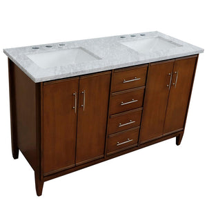 55 in. W x 22 in. D x 35.5 in. H Plantation - Brown Ash Bath Vanity with White Marble Vanity Top and White Basin - Bathroom Styles Inc.