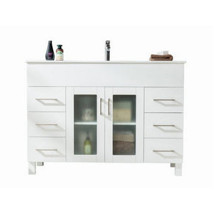 Laviva Single Sink Vanity - Free Standing, Inch White Cabinet with Ceramic Basin Countertop - 48 inches W x 18 inches D x 34 inches H - 31321529-48W-CB