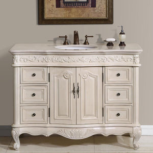 Silkroad Exclusive Single Sink Vanity – Free Standing, Ceramic Undermount Single Sink Bathroom Vanity with Cream Marfil Marble Top - 48 inches W x 22 inches D x 36 inches - HYP-0152-CM-UWC