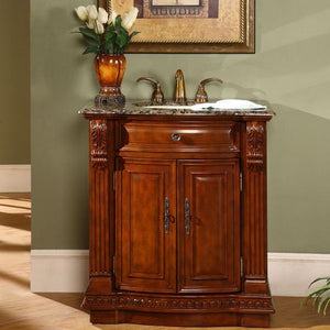 Silkroad Exclusive Single Sink Vanity - Free Standing, Ceramic Undermount Single Sink Bathroom Vanity with Baltic Brown Granite Top | 33 inches W x 22 inches D x 36 inches H - HYP-0206-BB-UIC-33