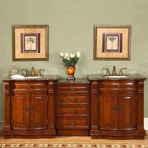 Silkroad Exclusive Double Sink Vanity - Ceramic Undermount Double Sink Bathroom Vanity with Baltic Brown Granite Top | 85 inches W x 22 inches D x 36 inches - HYP-0206-BB-UIC-85 84