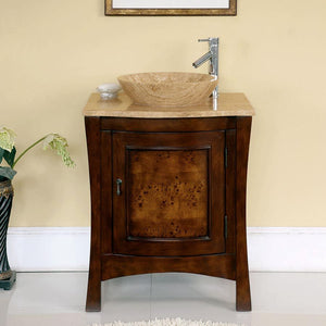 Silkroad Exclusive Single Sink Vanity - Free Standing, Single Vessel Sink Bathroom Vanity with Travertine Top | 26 inches, W x 22 inches, D x 36 inches - HYP-0714-T-TT-26
