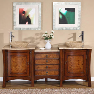 Silkroad Exclusive Double Sink Vanity - Free Standing, Double Vessel Sink Bathroom Vanity with Travertine Top | 72 inches W x 22 inches D x 36 in - HYP-0714-T-TT-72