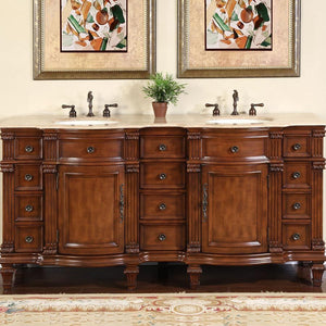 Silkroad Exclusive Double Sink Vanity - Free Standing, Premium Quality Ceramic Undermount Double Sink Bathroom Vanity with Travertine Top - 72 inches W x 22 inches D x 36 inches - HYP-0722-T-UIC-72