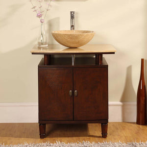 Silkroad Exclusive Single Vessel Sink Bathroom Vanity with Travertine Top - Free Standing, Modern     29 inches W x 22 inches D x 31 inches H - HYP-0808N-T-29