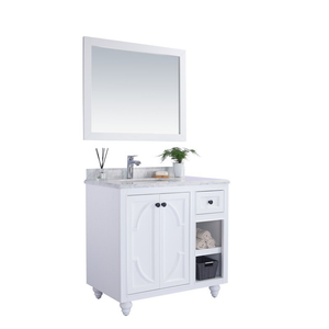 LAVIVA Odyssey White Cabinet with White Carrara Countertop, Premium Quality Bathroom Vanity Cabinet Marble Countertop - 36 in. W x 22 in. D x 35 inches - H - LAVIVA 313613-36W-WC