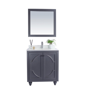Bathroom Styles, Inc Cabinet - Maple Grey Cabinet with Pure White Countertop, Premium Quality, High, Durable & Reliable Materials - Odyssey 30 Inch - 30 in. W x 22 in. D x 35 inches - 313613-30G-PW