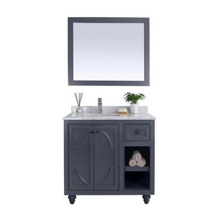 Laviva Odyssey 36 Inch Maple Grey Cabinet with White Carrara Countertop - 36 inches W x 22 inches D x 35 inches H - 313613-36G-WC