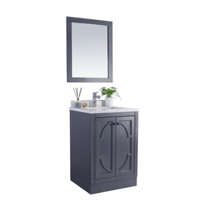 LAVIVA Cabinet - Maple Grey Cabinet with White Carrara Countertop - Premium Quality, High, Durable & Reliable Materials - Odyssey 24 Inch - 24in. W x 22 in. D x 35 inches - 313613-24G-WC