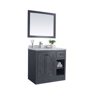 LAVIVA Single Sink Vanity for homes - Odyssey 36 Inch Maple Grey Cabinet with Black Wood Countertop, Premium Quality Materials - 36 in. W x 22 in. D x 35 inches - 313613-36G-BW