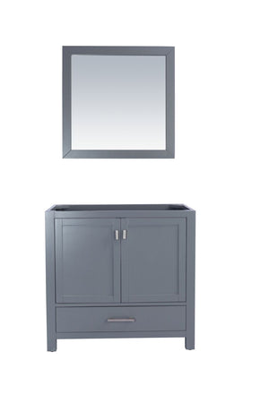Laviva Wilson 36 Inch Grey Cabinet with White Stripe Countertop. Floor Storage Cabinet, Wood Linen Cabinet with Doors and Adjustable Shelf, Cupboard. Free Standing Organizer for Living Bathroom. - LAVIVA 313ANG-36G-WS