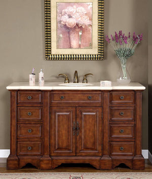 Silkroad Exclusive Single Sink Vanity - Free Standing, Ceramic Undermount Single Sink Bathroom Vanity with Cream Marfil Marble Top - 58 inches W x 22 inches D x 36 inches - WFH-0199-CM-UWC