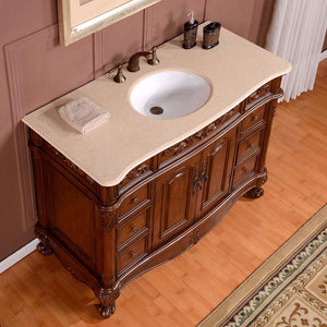 Silkroad Exclusive Single Sink Vanity - Free Standing High Quality, Durable & Reliable - Ceramic Undermount Single Sink Bathroom Vanity with Cream Marfil Marble Top - ZY-0250-CM-UWC-48