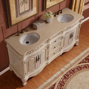 Silkroad Exclusive Double Sink Vanity – Premium Quality Ceramic Undermount Double Sink Bathroom Vanity with Cream Marfil Marble Top | 72 inches W x 22 inches D x 36 inches H - ZY-0250-CM-UWC-72