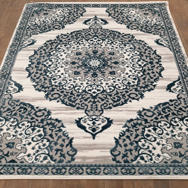 KP 1992 Blue & Grey 160x230cm Rug - The Rugs Outlet