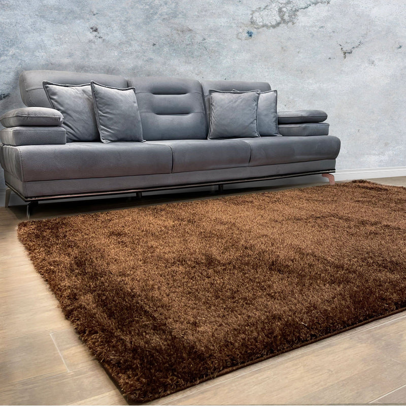 Puffy Super Soft Shaggy Brown Rug - The Rugs Outlet