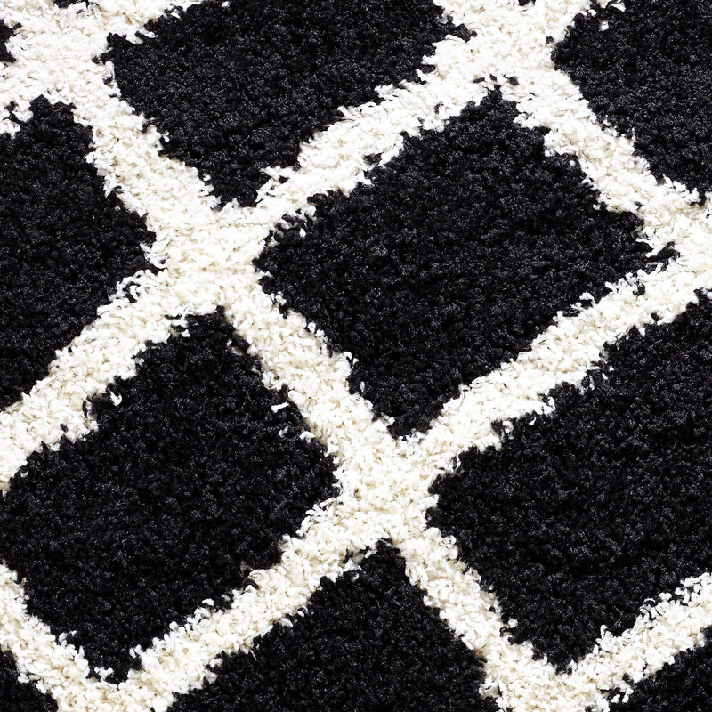 Moroccan 200x290cm Shaggy Black Rugs - The Rugs Outlet