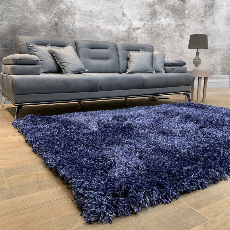 Fluffy Soft Shaggy Blue Rug - The Rugs Outlet