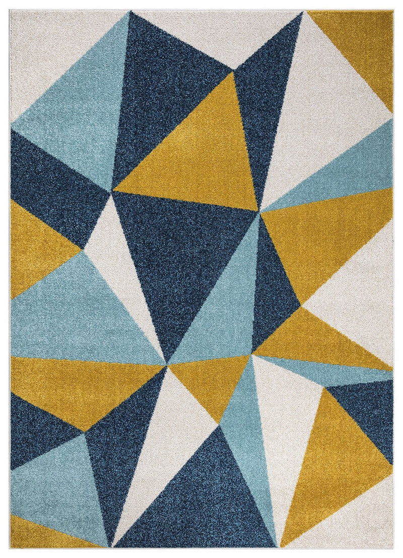Amsterdam 171 Navy Blue Mustard Rug - The Rugs Outlet