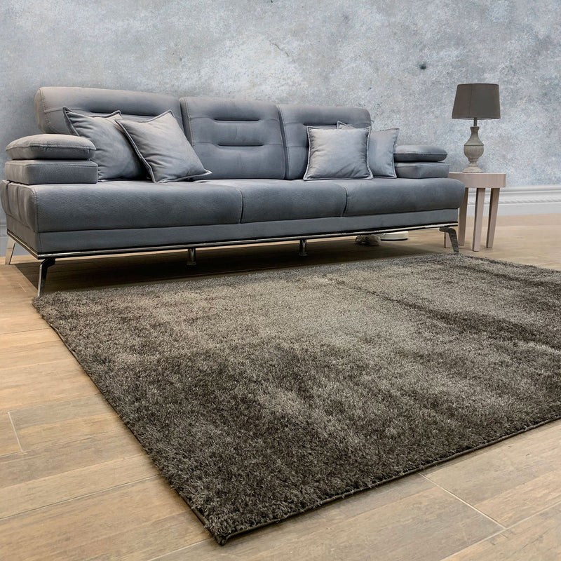 Puffy Super Soft Shaggy Dark Grey Rug - The Rugs Outlet