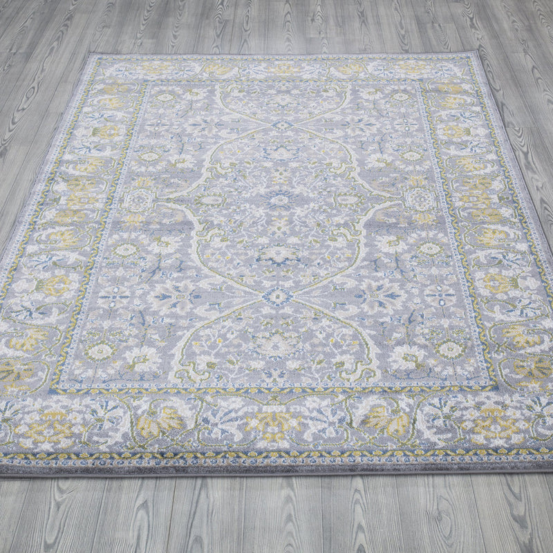 Monaco 1993 Traditional Grey & Gold Rug - The Rugs Outlet
