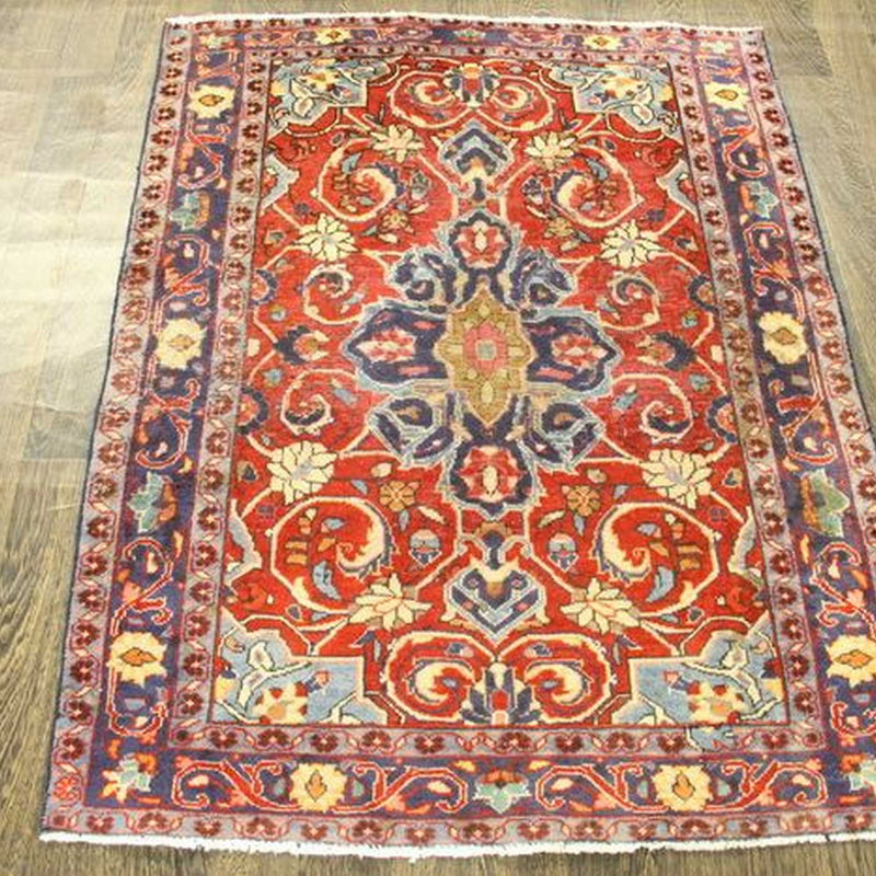 Traditional Vintage Handmade Rug 110x143cm - The Rugs Outlet