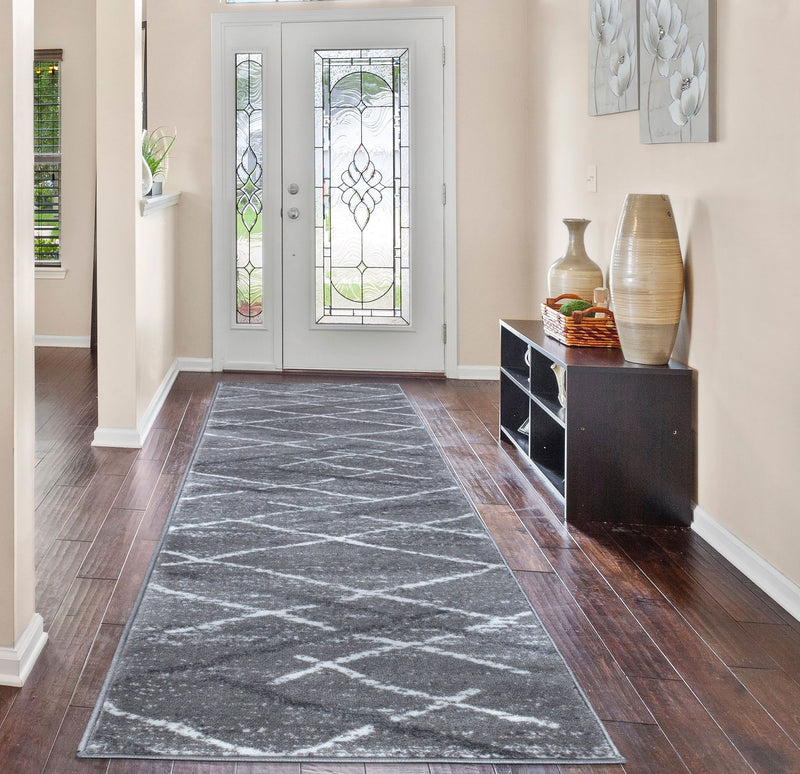 Modern Salvador 9957 Grey Rugs The Rugs Outlet 60x230cm Runner