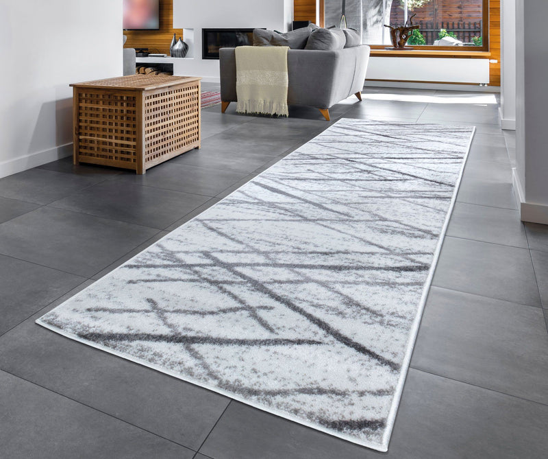 Modern Salvador Cream & Grey Rugs The Rugs Outlet 60x230cm Runner