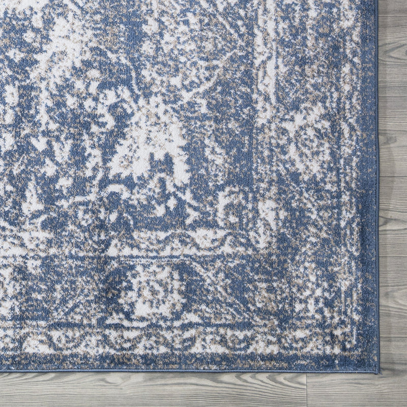 Santorini Blue Vintage Flora Rug - The Rugs Outlet