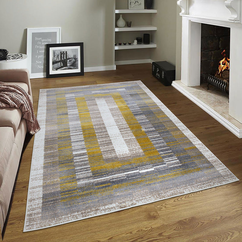 Sevilla 5377 Grey & Yellow Rug The Rugs Outlet 80x150cm
