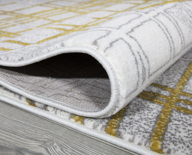 Sevilla 5390 Grey & Yellow Rug The Rugs Outlet