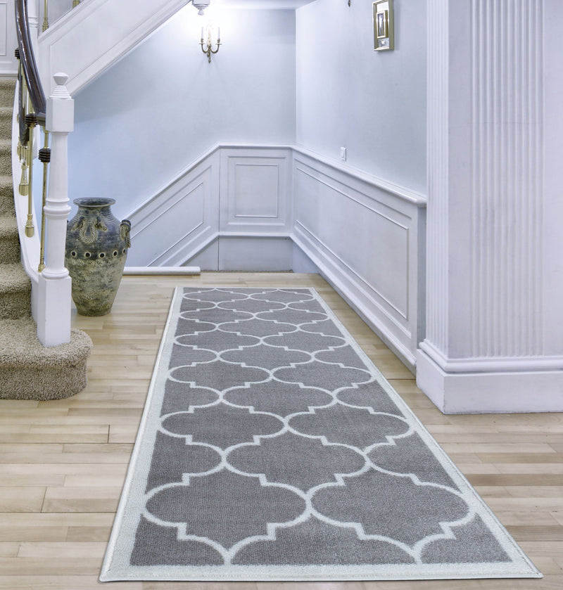 Trendy Grey Trellis Design Rug - The Rugs Outlet
