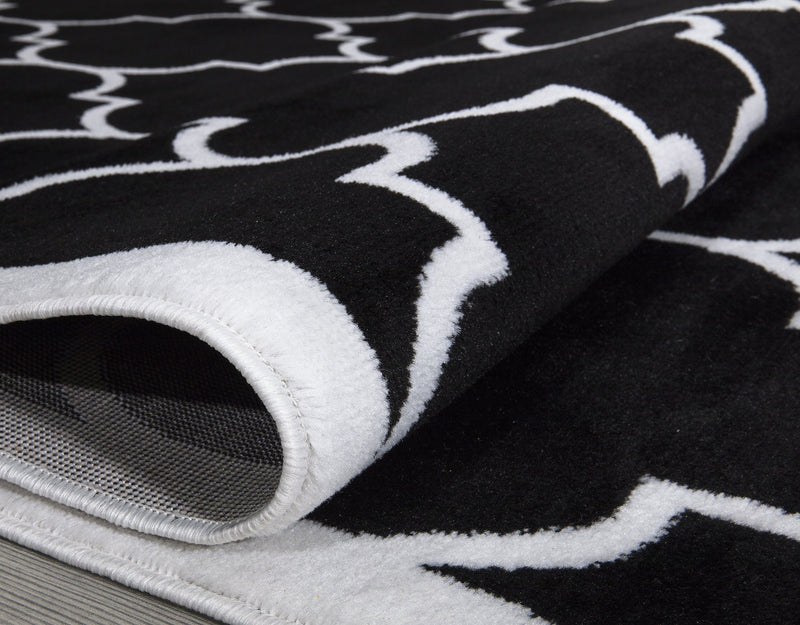 Modern Trendy 07 Black Trellis Design Rugs The Rugs Outlet